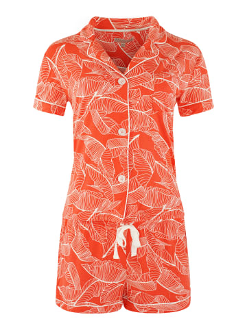 P.J. Salvage Shorty Pyjama Red Leaves in Rot