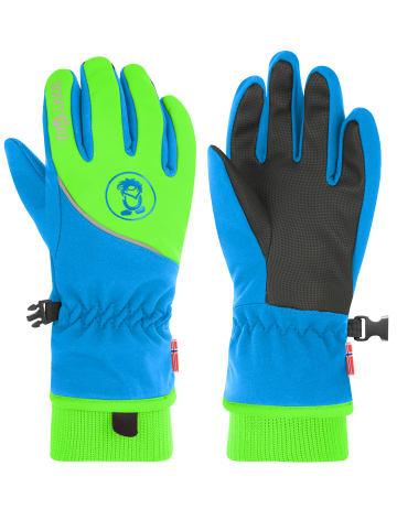 "Trollkids Handschuhe ""Trolltunga"" in Mittelblau/Grün"