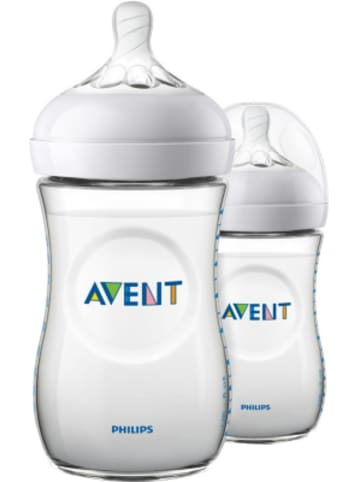 Philips Avent Weithalsflasche Naturnah 2.0 SCF033/27, PP, 260 ml, Silikonsauger, 2er Pack
