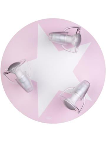 Waldi-Leuchten Deckenleuchte rosa mit Stern weiß, 3-flg.
