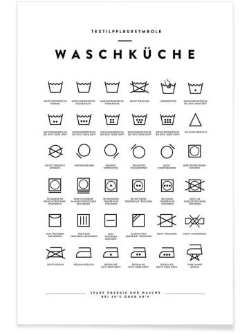 """Juniqe Poster """"Wäsche"""" in Schwarz & Weiß"""