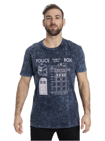 BBC T-Shirt Doctor Who Police Box Blueprint Batik in blau