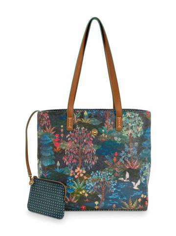 "PiP Studio Shopper ""Medium Pip Garden Dark Blue"" in Blau - 32/47x31x18.5cm"