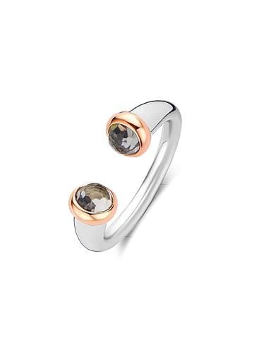 "Ti Sento Milano Ring ""graue Kristalle"" in silber und grau"