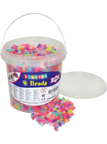 Playbox Bügelperlen im Eimer, 5.000 Stück, Glitzer-Mix