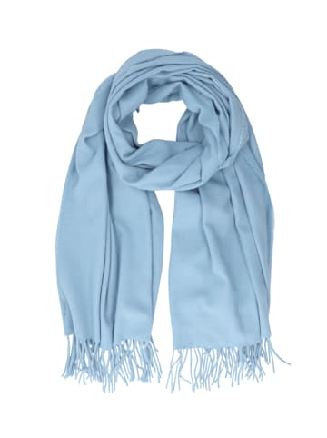 Six Blauer Schal mit Fransen aus recyceltem Material in blau
