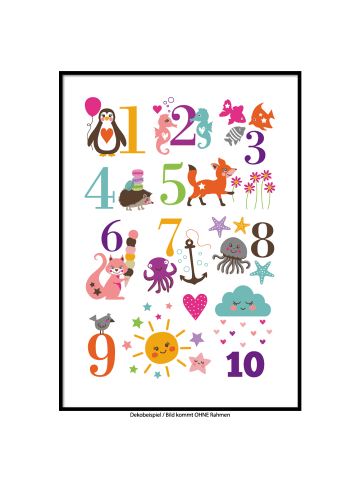 "SMART ART Kunstdrucke Kunstdruck / Poster ""Zahlen"" / A4 oder A3"