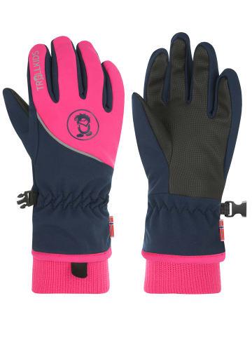 "Trollkids Handschuhe ""Trolltunga"" in Marineblau / Magenta"