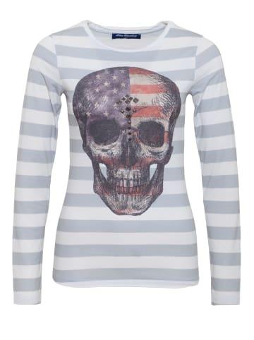 BLUE MONKEY BLUE MONKEY BLUE MONKEY Longshirt mit Fotodruck mit Streifen Alloverdruck Skull Style 5 18-3518 in light grey