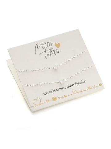 Himmelsflüsterer  Herz-Armbänder für Mutter & Tochter mit Geschenkkarte - Farbe: Silber