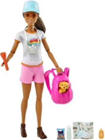 Mattel Barbie Wanderin-Spielset Puppe mit Hund, Anziehpuppe