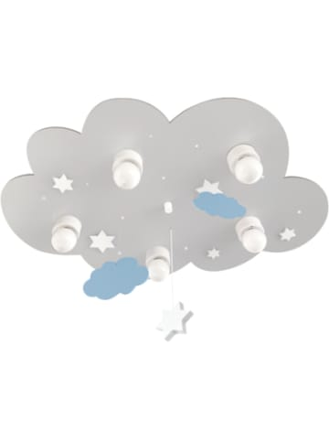 Waldi-Leuchten Deckenleuchte Wolke grau mit Wolken und Sternen, 5-flg.