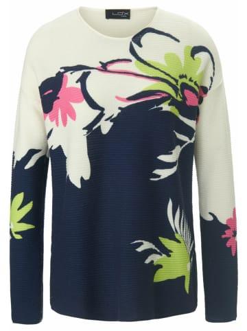 LOOXENT Pullover Rundhals-Pullover mit überschnittener Schulter in ecru/multicolor