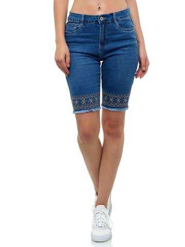 I dodo Capri Jeans Shorts Stretch Bermuda Hose kurz Stickerei in Blau