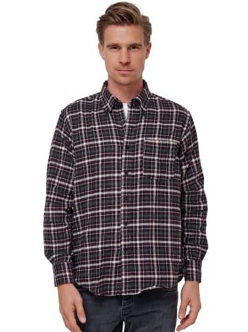 SECOLO Kariertes Flanell Hemd Button-Down Kragen Cotton in Weinrot