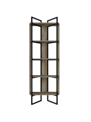 Moebel17 Bücherregal Costa mit Metallfüße und Rahmen Eiche