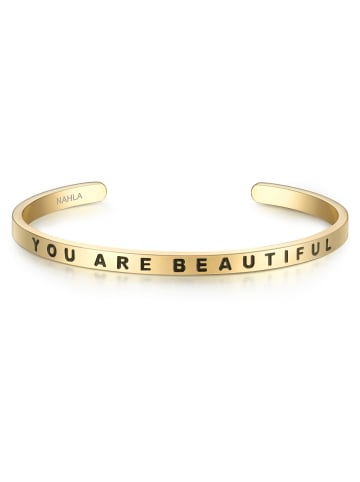 Nahla Jewels Armband YOU ARE BEAUTIFUL Edelstahl in Gelbgold in gelbgold