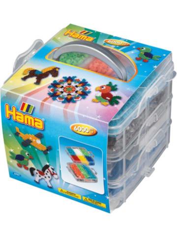 Hama Bügelperlen HAMA 6701 Bügelperlen-Sortierbox mit 6.000 midi-Perlen & Zubehör