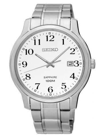 Seiko Analog Uhr 'SGEH6' in weiß/Silber