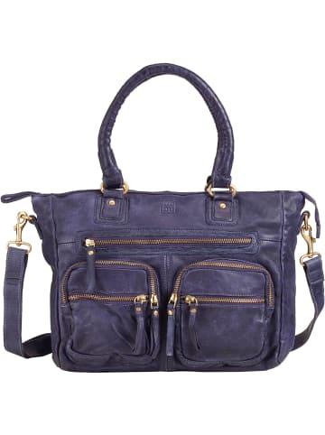 DuDu Handtasche Leder 33 cm in indigo blue