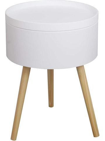 HappyHome Nachttisch rund mit Stauraum in Weiß, Holz - B38 x T38 x H52 cm