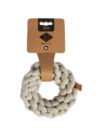 DREAM and DARE  Hundespielzeug geflochtener Ring Ben M, 13 x 13 x 4,5 cm, weiß