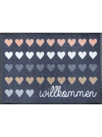 """Wash+dry Fußmatte """"Design Willkommen Herzen"""" 50x75 cm"""