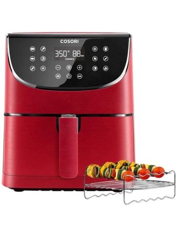Cosori 5,5-Liter Heißluftfritteuse mit Spießregalsatz Rot