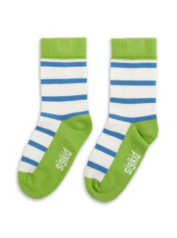 Sigikid Socken in Grün/Weiß/Blau