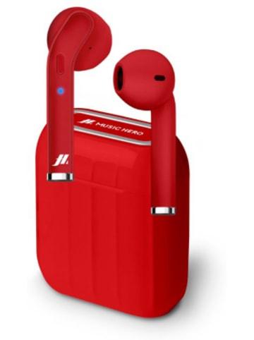 Sbs Drahtlose TWS-Kopfhörer, Ladestation 300 mAh, integrierte Tasten, Farbe rot