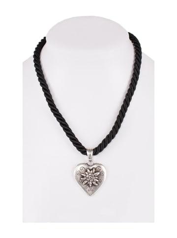 Schuhmacher Halskette K100 Kordel Herz mit Edelweiss schwarz