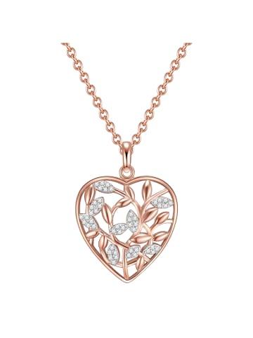Rafaela Donata Halskette Herz / Funkelnde Blätter Sterling Silber Zirkonia in Roségold in roségold
