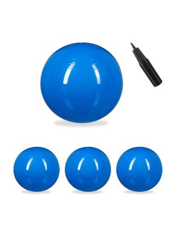 Relaxdays 4x Gymnastikball in Blau - Ø 85 cm