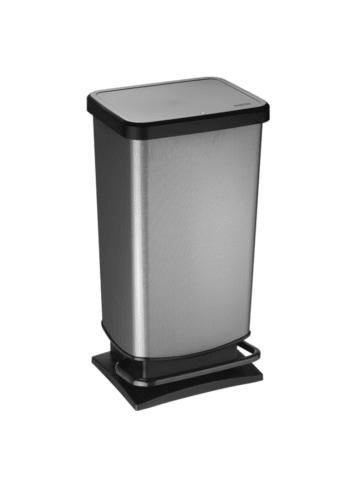 Rotho Paso Mülleimer 40l mit Pedal und Deckel in carbon metallic