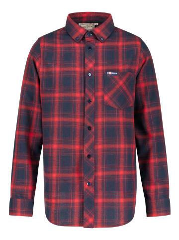 GOODYEAR Langarmhemd Denali in Red / Navy Checks