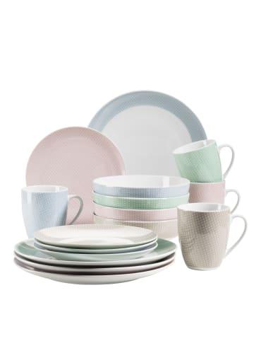 Mäser Kitchen Time II Geschirr-Set, Porzellan in Rosa, Blau, Grün, Beige