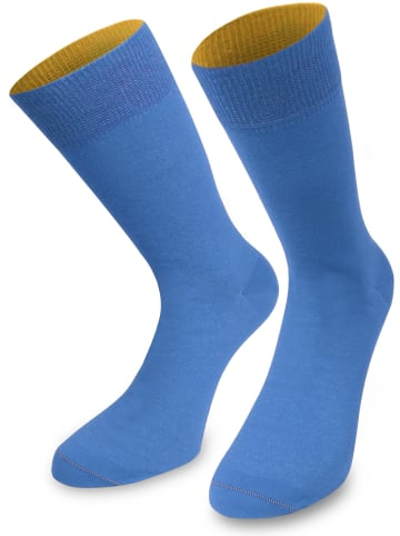 Normani 1 Paar Socken Bi-Color in Himmelblau/Aprikose