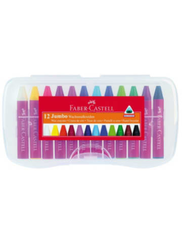 Faber-Castell Wachsmalkreiden JUMBO, 12 Farben in Kunststoffbox