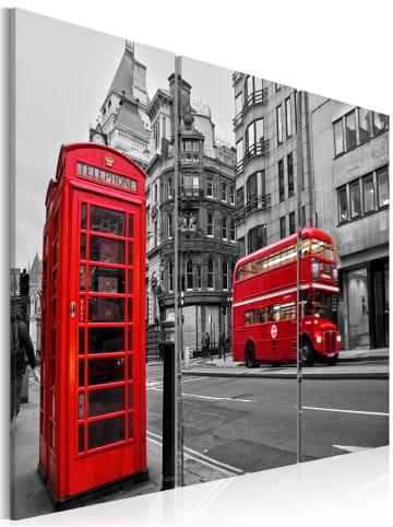 Artgeist Wandbild Leben in London in schwarz-weiß,Rot