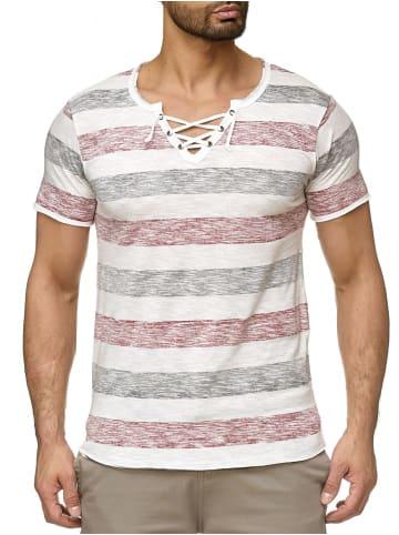 Urban Surface Design Print Kurzarm T-Shirt in Rot