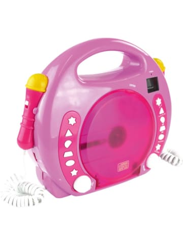 X4-Tech Kinder CD-Player Bobby Joey inkl. USB / MP3 und Mikrofone, Pink
