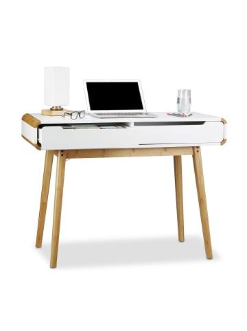 Relaxdays Schreibtisch in Weiß - (B)100 x (H)73 x (T)45 cm