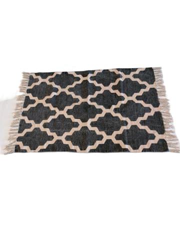 """Cotex Zweifarbig gemusterter Baumwoll-Teppich """"Stonehenge"""" mit Fransen (schwarz/Weiß)"""