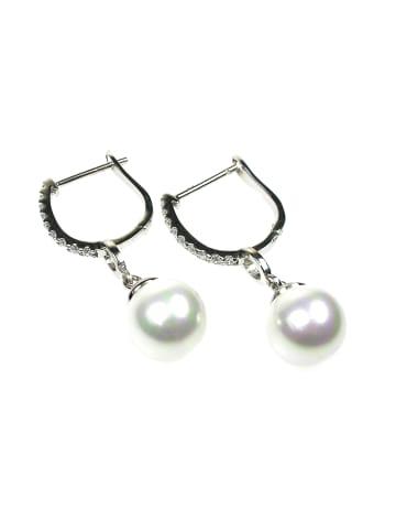 Perlas Orquidea  Perlenohrringe Tiffany Earrings in weiß