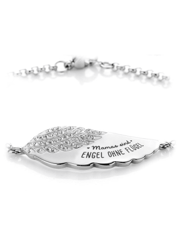 "Silvity Armband mit graviertem Engelsflügel ""Mamas sind Engel ohne Flügel"""