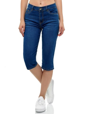MISS FANNY Kurze Capri Jeans Shorts leichte Bermuda Sommer in Blau-3