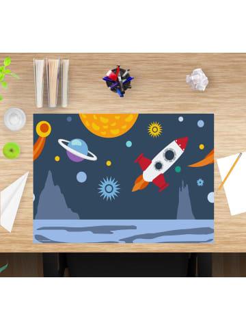 """Cover-your-desk.de  Schreibtischunterlage """"Weltall mit Rakete"""" bunte Farben (L)60 x (B)40"""