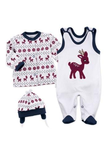 Baby Sweets 3tlg Set Strampler + Shirt + Mütze Little Reindeer in bunt