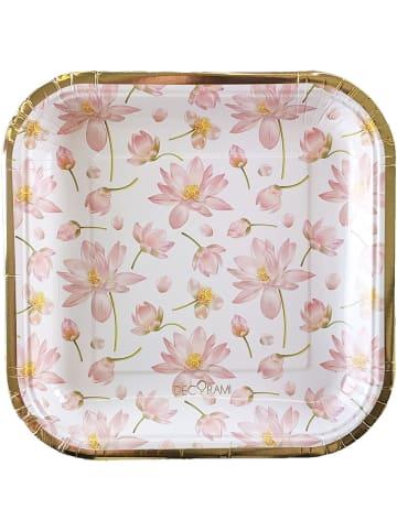 "DECORAMI Pappteller ""Beautiful Blüten"" in Weiß-Rosa"
