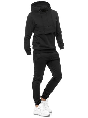 OXCID Kinder Trainingsanzug Jungen Jogginganzug Hoodie mit Jogginghose in Schwarz